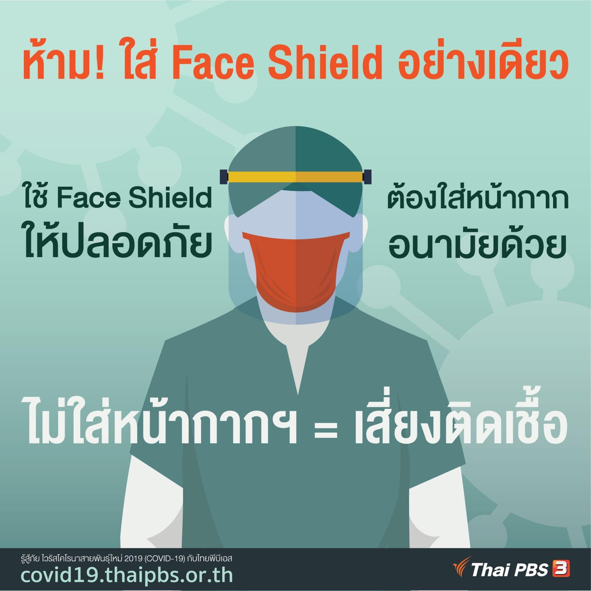 ห้ามใส่ Face Shield อย่างเดียว!