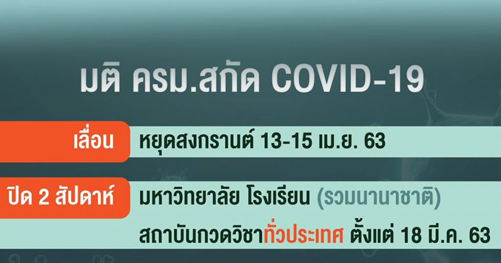 สรุปมติ ครม.สกัด COVID-19