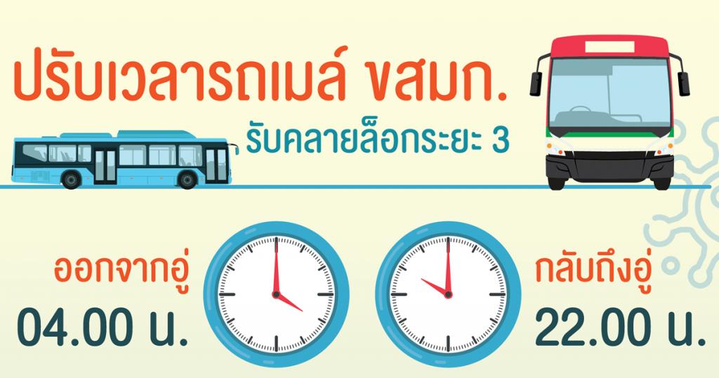 ปรับเวลารถเมล์ ขสมก. รับคลายล็อก ระยะ 3