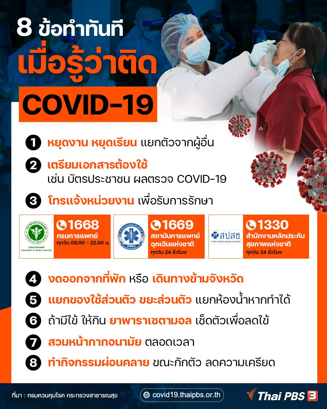8 ข้อทำทันที เมื่อรู้ว่าติด COVID-19